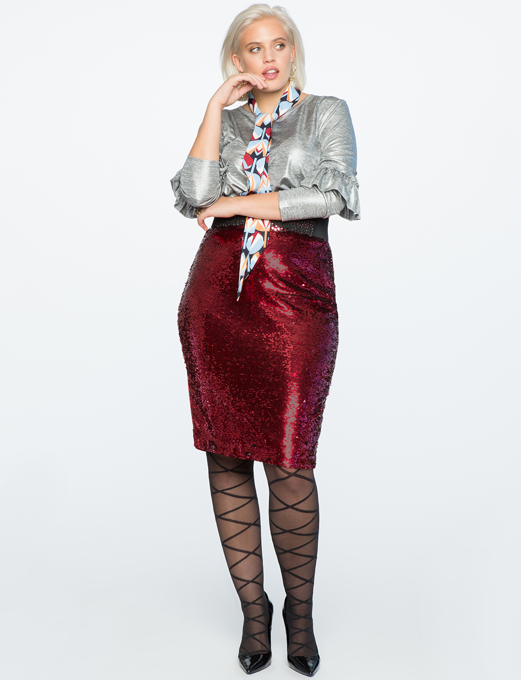 Sequin Front Pencil Skirt