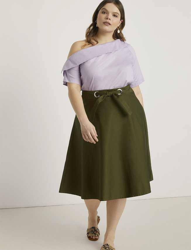 Grommet Detail Circle Midi Skirt
