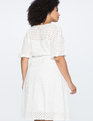Boatneck Eyelet Dress with Piping Soft White