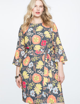 Printed Tie Waist Easy Tee Dress
