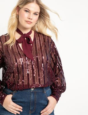 V Neck Sequin Blouse