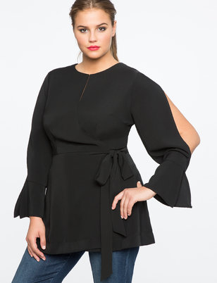 Split Sleeve Wrap Top