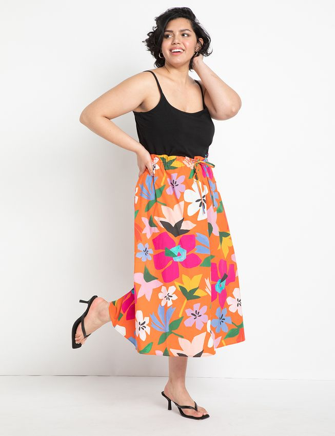 Cinched Waist Full Skirt