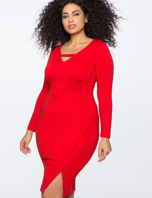 3/4 Sleeve Faux Wrap Dress