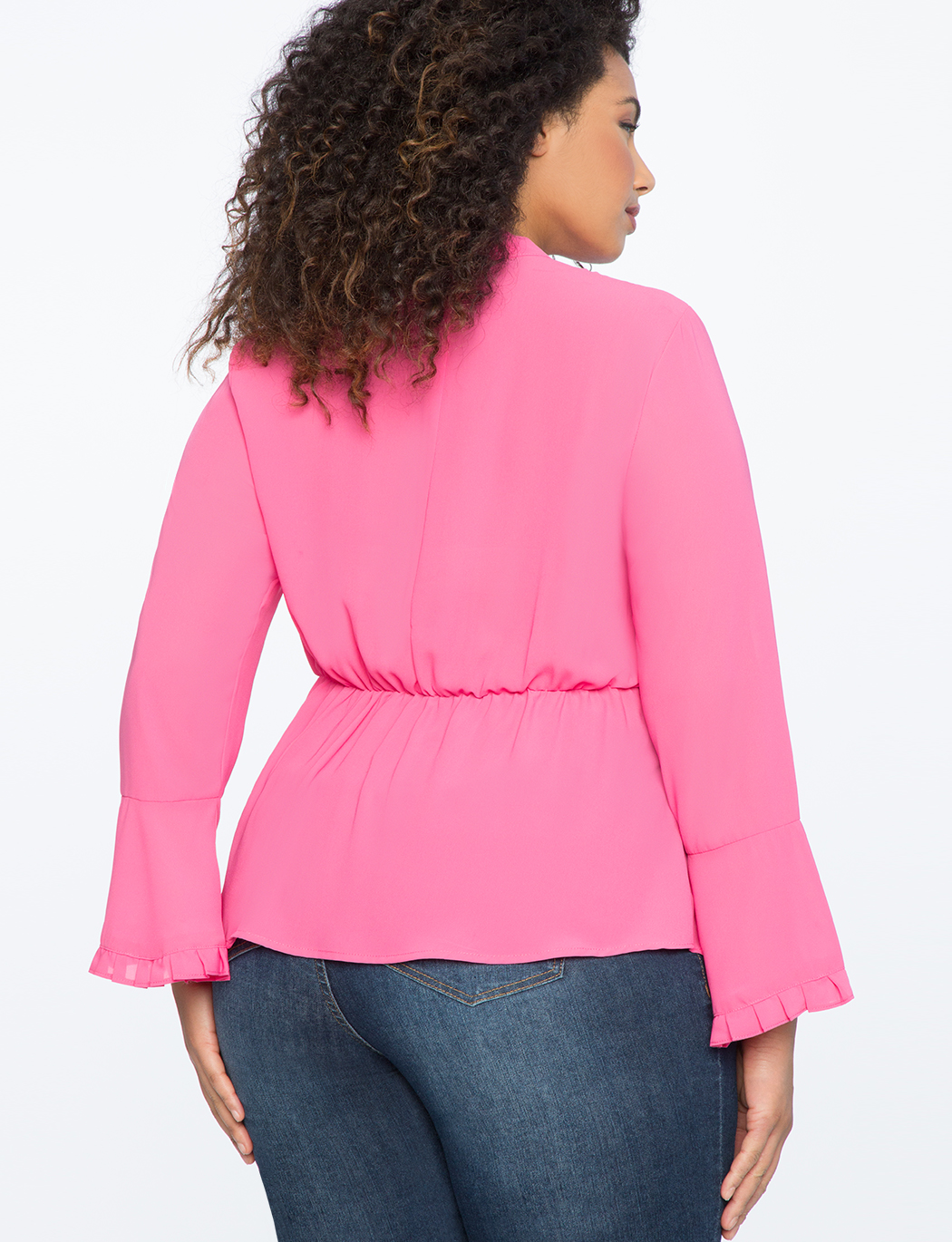Peplum Bow Blouse with Pleat Detail