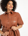 Faux Leather Trench Dress Cognac