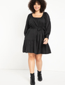 Puff Sleeve Scoop Neck Dress Totally Black
