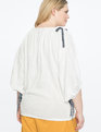 Boat-neck Balloon Sleeve Top Soft White