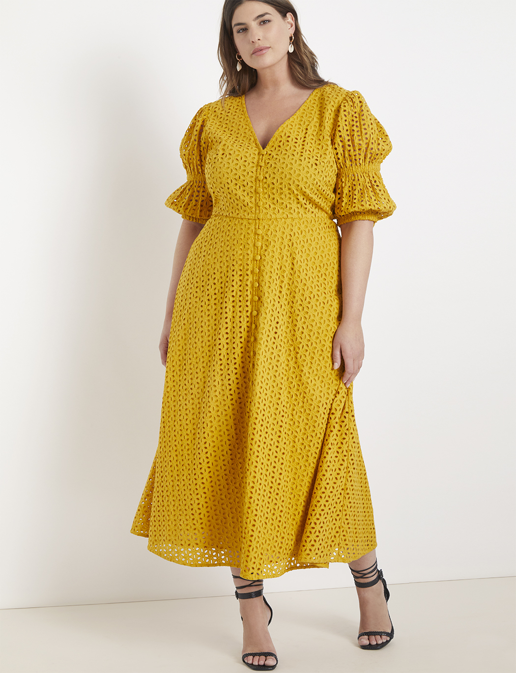 Eyelet Dress with Puff Sleeves | Women\'s Plus Size Dresses | ELOQUII