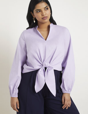 Puff Sleeve Tie Front Top