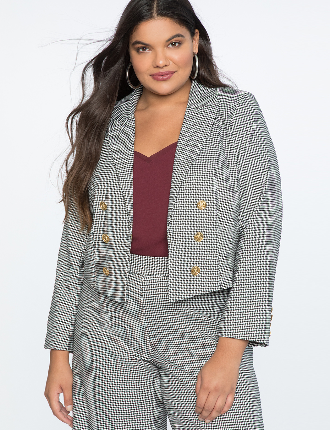 Double Slit Houndstooth Jacket