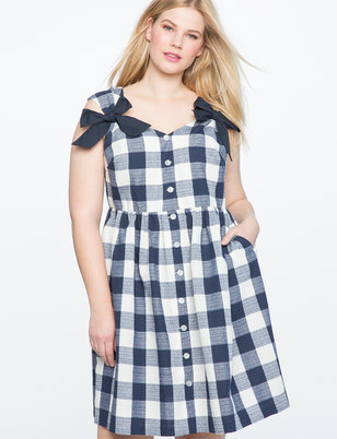 Button Down Bow Detail Dress