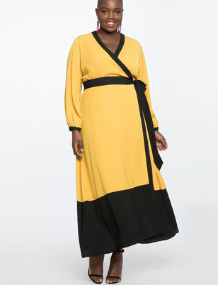 Colorblocked Wrap Dress