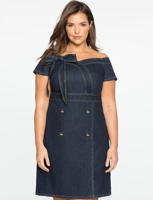 Off the Shoulder  Sweetheart Denim Dress