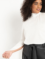Crinkle Knit Tee with Slit Sleeves Soft White