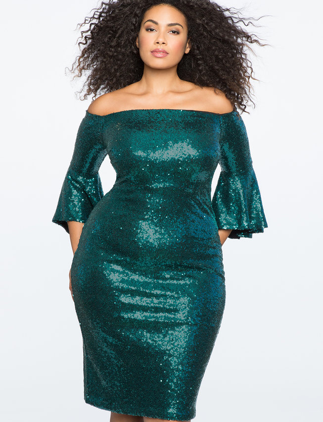 Sequin Off the Shoulder Flare Sleeve Dress