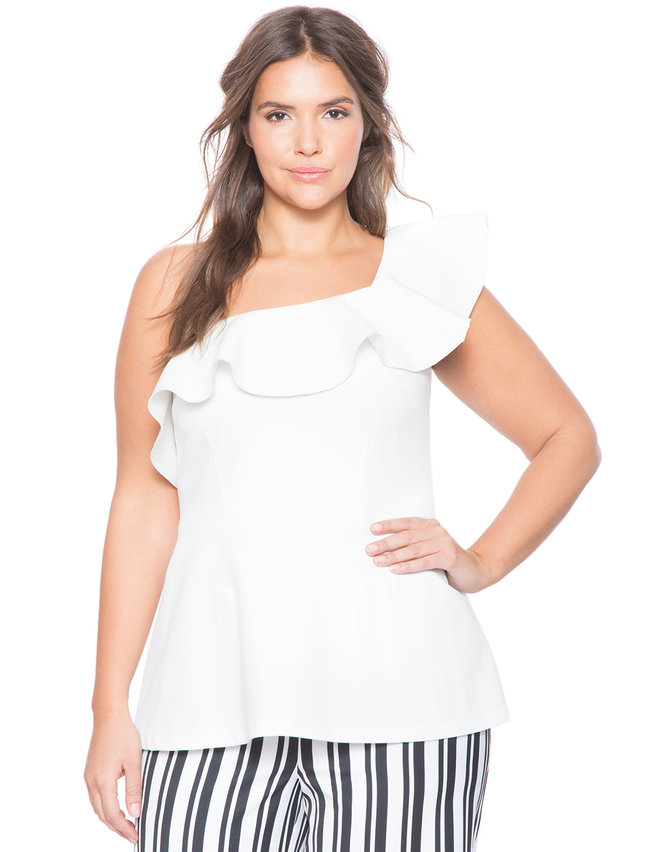 One Shoulder Flare Top Womens Plus Size Tops Eloquii