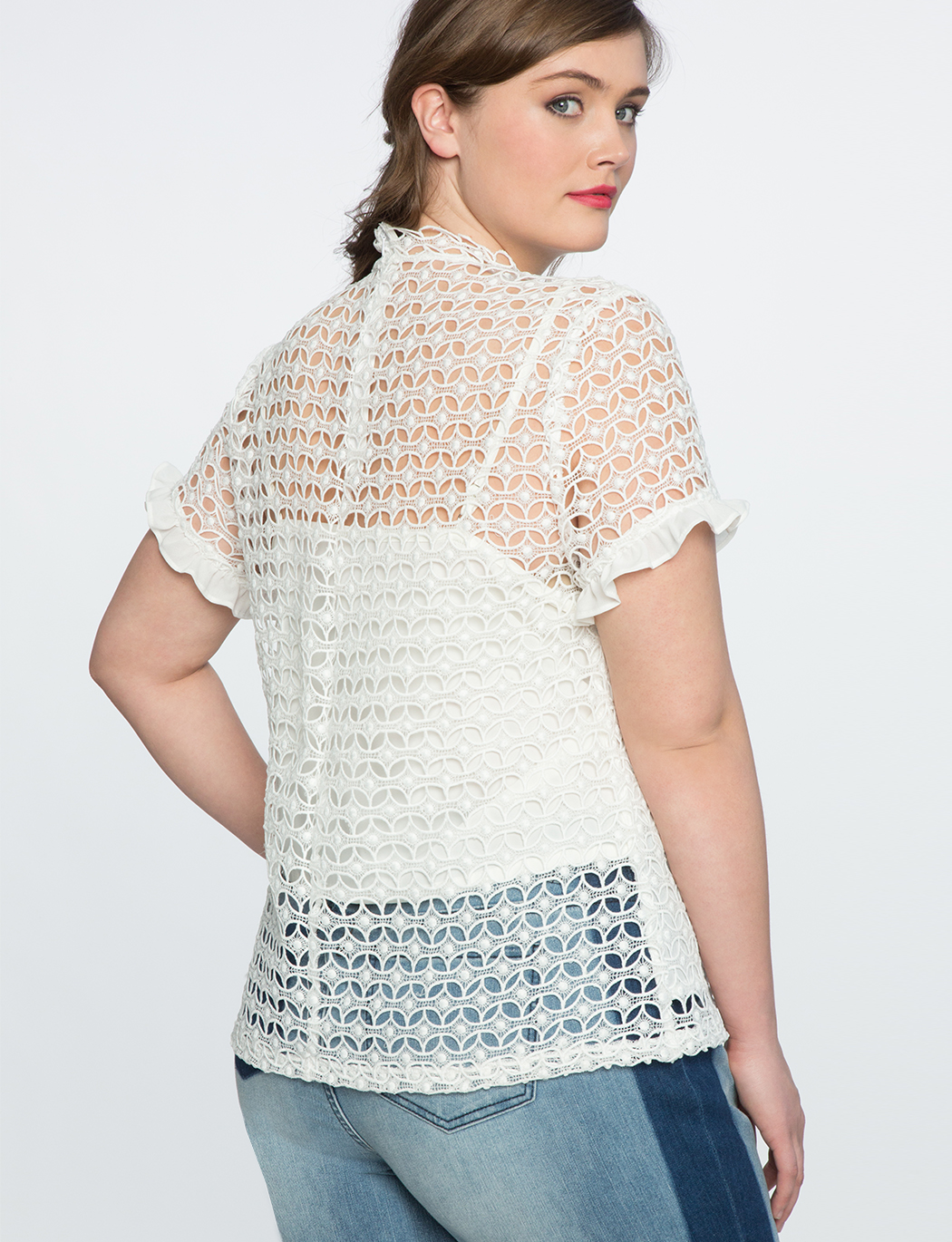 Mixed Lace Ruffle Detail Top