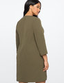 Embroidered Flare Sleeve Dress Olive