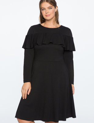 Flounce Overlay Fit and Flare Dress
