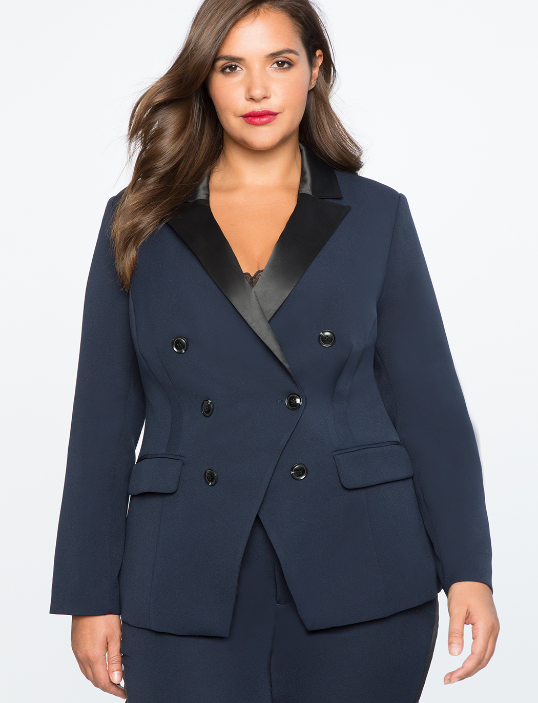 Satin Collar Double Breasted Blazer