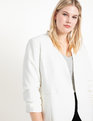 Relaxed Collarless Blazer Soft White