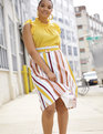 Stripe A-line Midi Skirt Tropical Sunrise Stripes