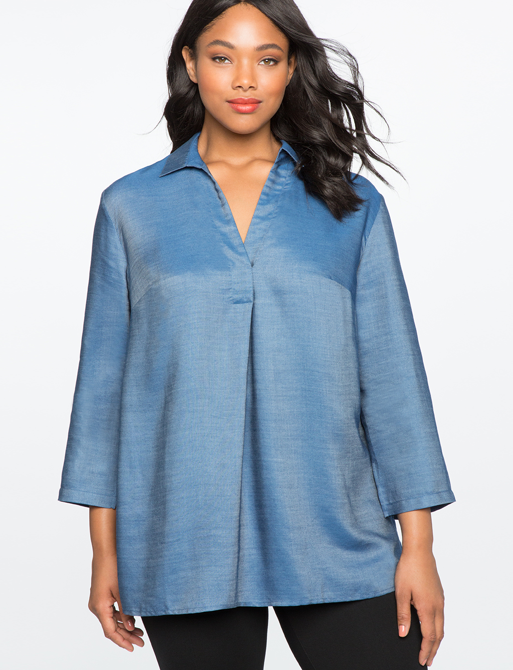 356b8a1c6294e Chambray Pleat Front Tunic