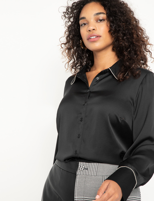 Button Down Blouse with Crystal Detail