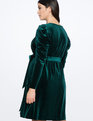 Draped Puff Sleeve Velvet Dress Manor Green