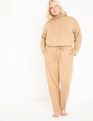 French Terry Raw Hem Sweatpants Tan