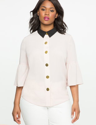 Flare Sleeve Blouse with Exaggerated Buttons