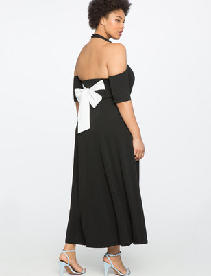 Cold Shoulder Scoop Back Dress
