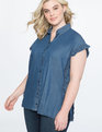 Side Ruffle Shirt Chambray