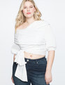 Wrap Front Tie Top with Puff Sleeve TRUE WHITE