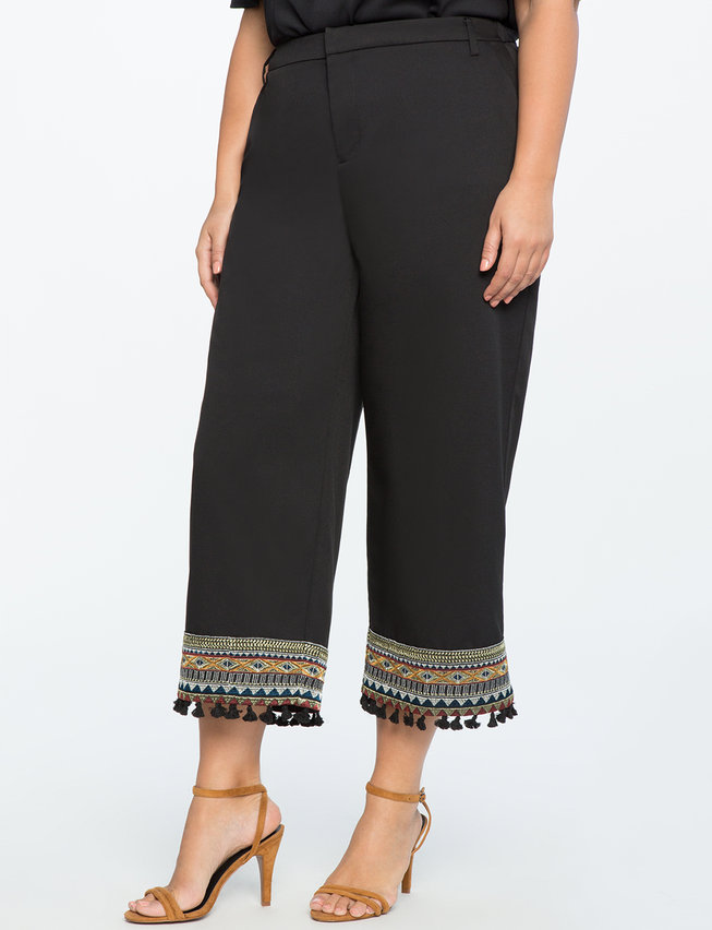 Studio Embroidered Hem Pant