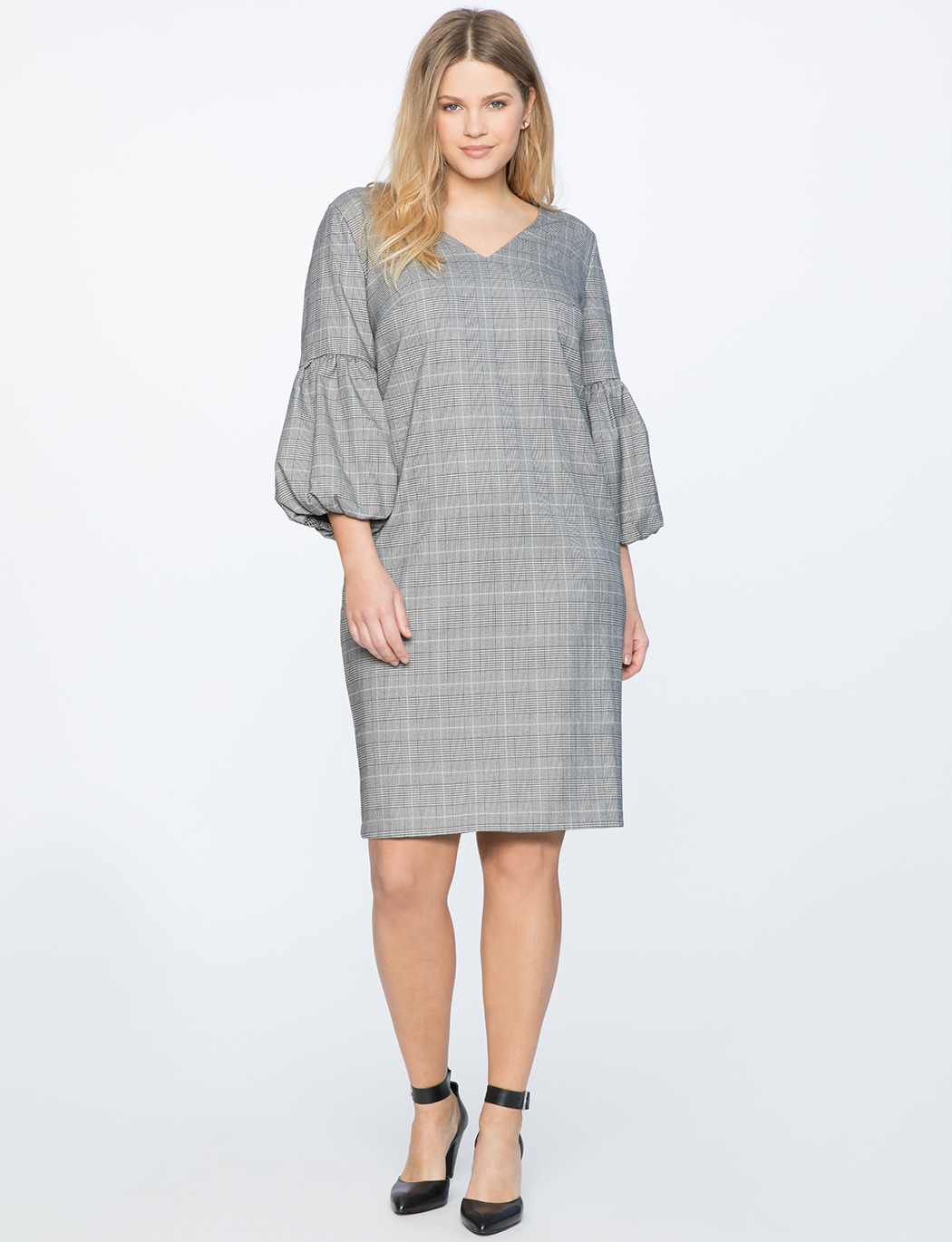 Balloon Sleeve Plaid Dress