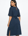 Tie Waist Midi Dress with Side Slits Prussian Blue