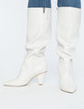 Kass Slouchy Cone Heel Boot White