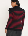 Stripe Sweater with Button Collar Black with Cabernet Stripe
