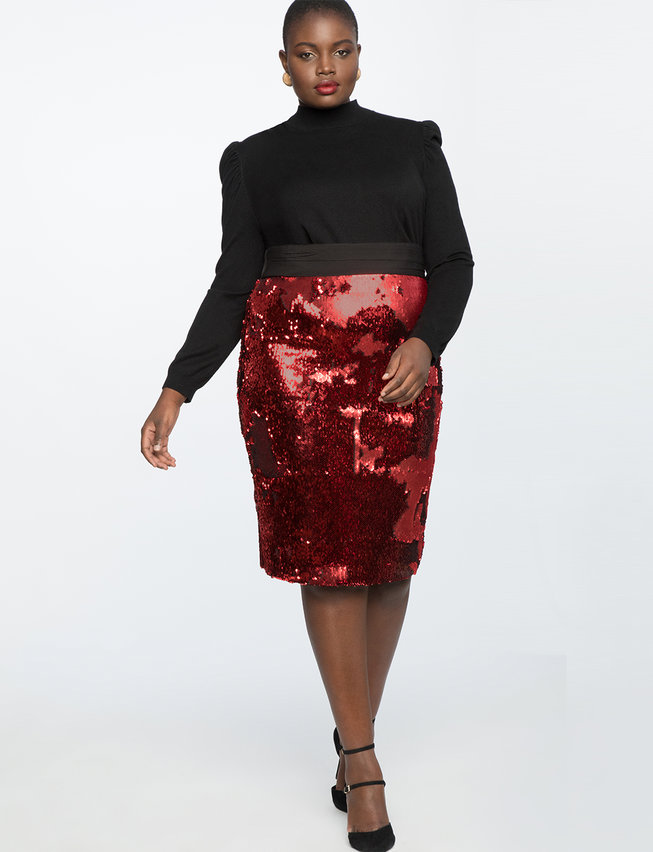 Two Tone Sequin Pencil Skirt