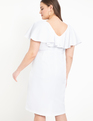 Surplice Bodice Dress with Cape Sleeve True White