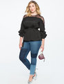 Lace Overlay Long Sleeve Top Black