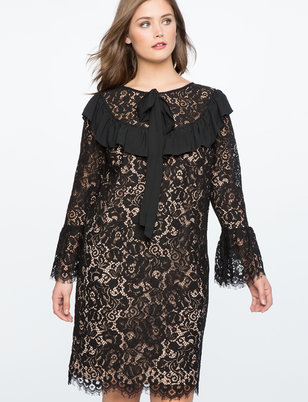 Lace Sheath Dress with Oversized Bow