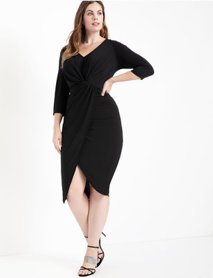 Long Sleeve Draped Front Midi Dress