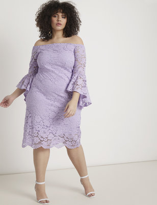 Off the Shoulder Flare Sleeve Lace Dress