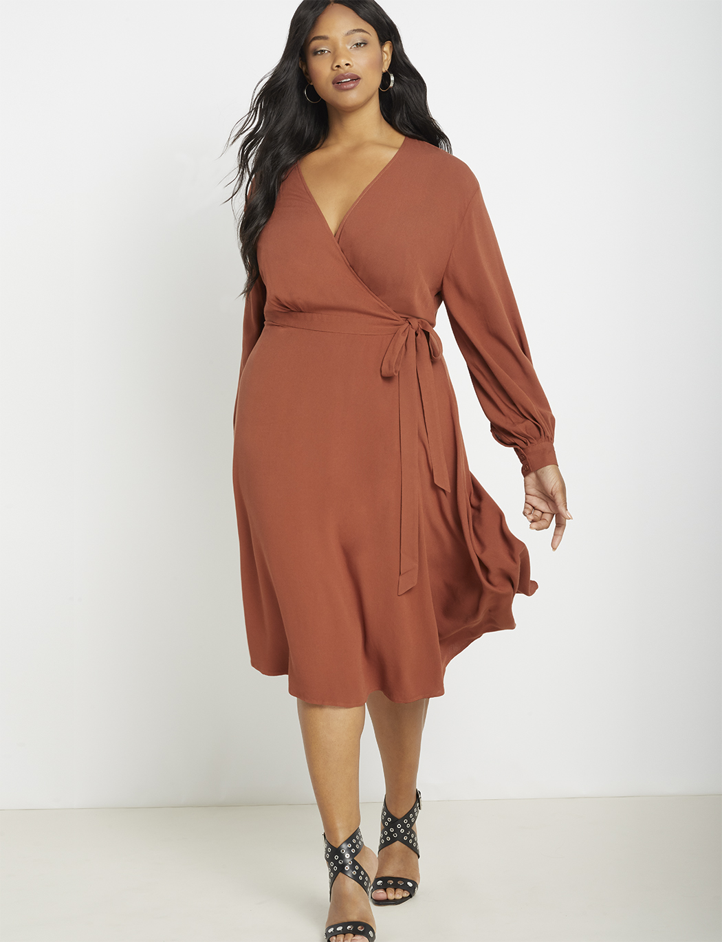 Long Sleeve Wrap Dress with Tie