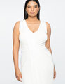Jason Wu X ELOQUII Drape Front V-Neck Dress Chalk