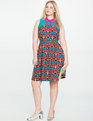 Block Print Fit & Flare Dress LARGE TULIPANO