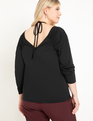 Ruched Tie Neck Top Black